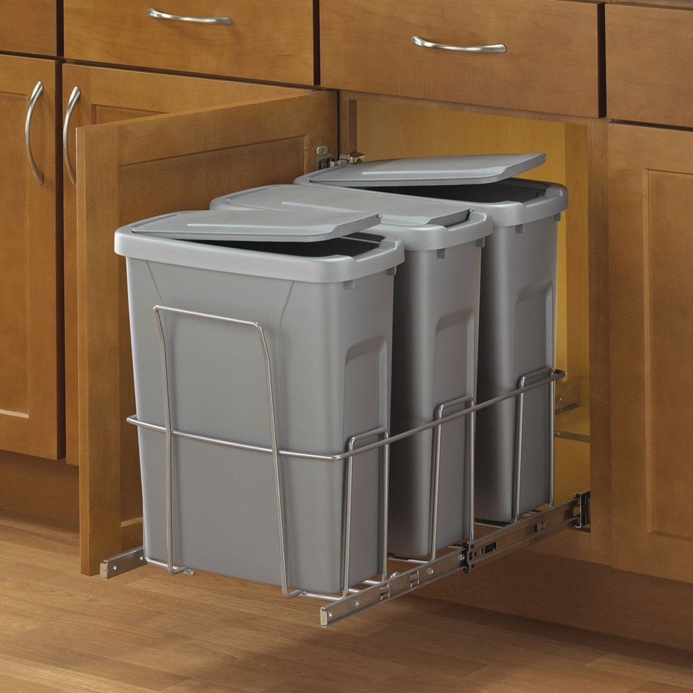 Triple Slide-Out Waste Bin - 20 Quart