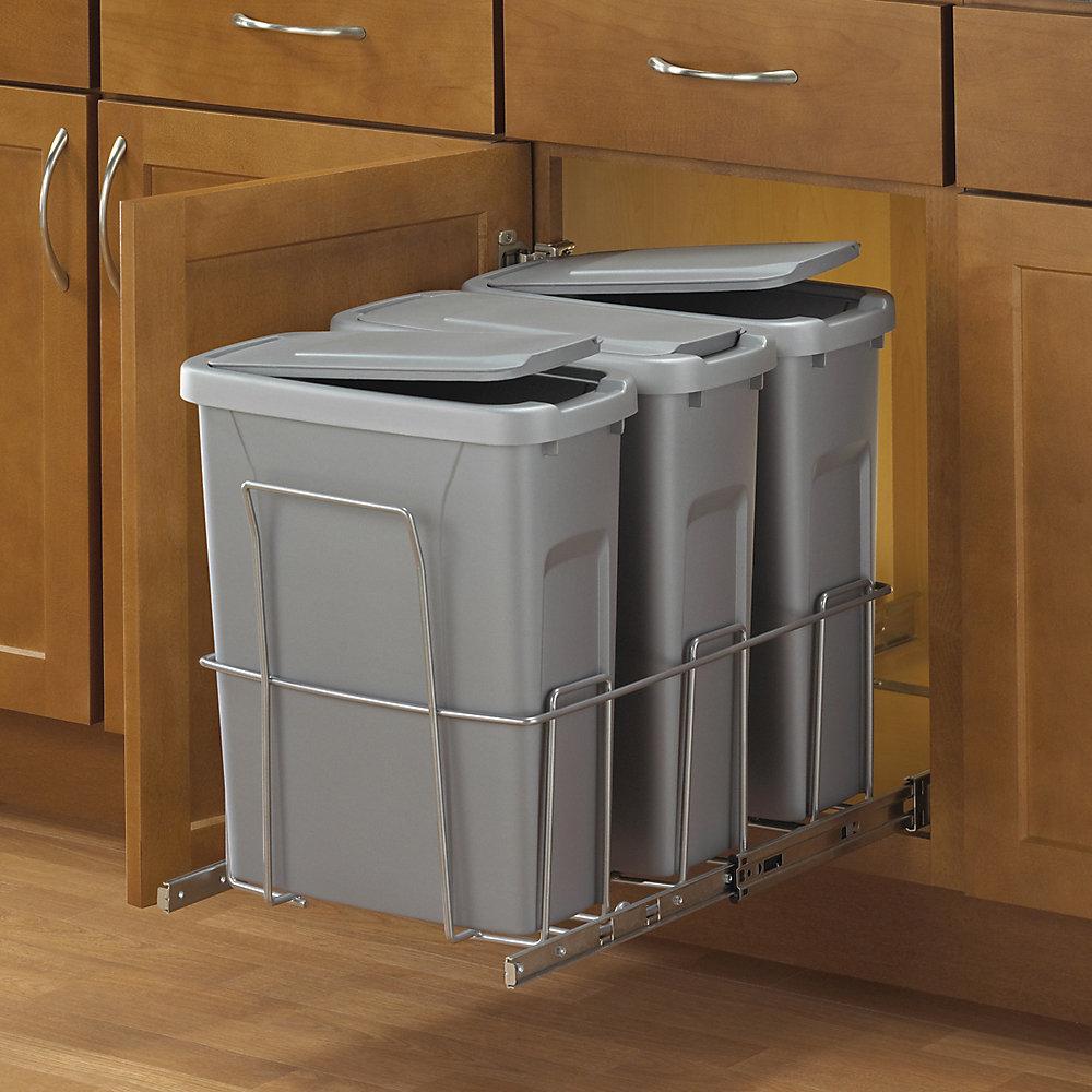 Poubelle à déchets coulissante à triple contenant de 18,9 litres