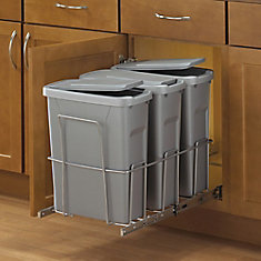 18-inch H x 14-inch W x 23-inch D Steel In-Cabinet 18.9 L Triple Pull Out Trash Can in Platinum