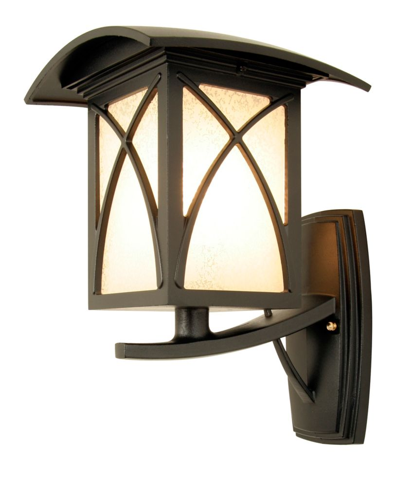 Luxia, Uplight Wall Mount, Clear Beveled Glass, Black