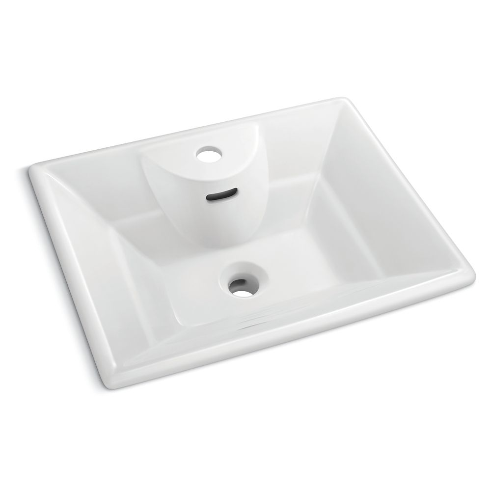 GLACIER BAY 19-inch x 15 1/4-inch Square Vessel Sink in White