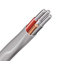 Câble électrique – fils aluminium calibre AWG 6/3 - Romex SIMpull NMD90 6/3 AL gris - 1M