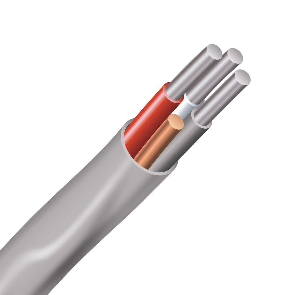 Câble électrique � fils aluminium calibre AWG 6/3 - Romex SIMpull NMD90 6/3 AL gris - 1M