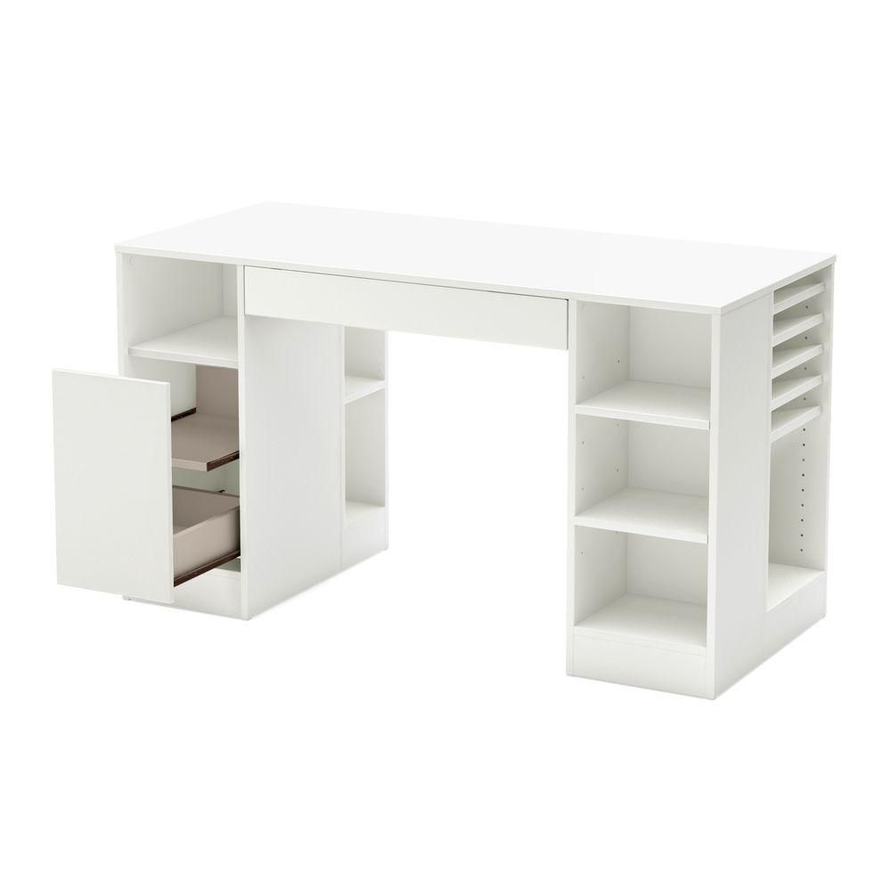 South shore crea craft table pure white the home depot for South shore artwork craft table with storage pure white