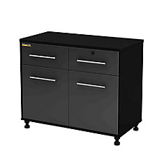 Karbon 39.5-inch x 19.5-inch x 30-inch 2-Drawer 2-Door Base Cabinet in Pure Black & Charcoal
