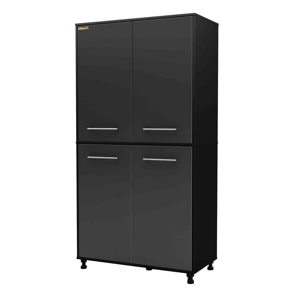 South Shore Karbon Storage Cabinet in Pure Black & Charcoal