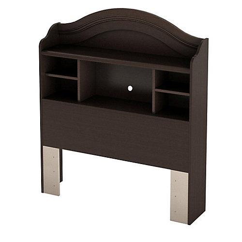 Sweet Lullaby Twin Bookcase Headboard Espresso