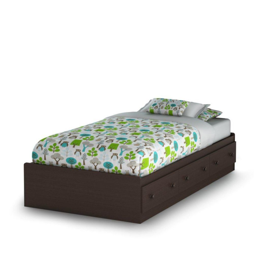 South Shore Sweet Lullaby Twin Storage Bed Espresso The Home Depot