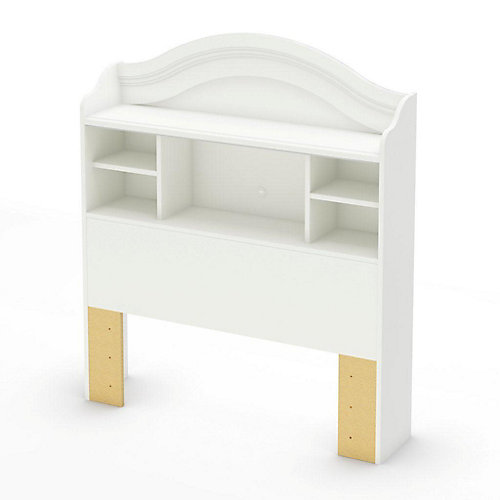 Sweet Lullaby Twin Bookcase Headboard Pure White