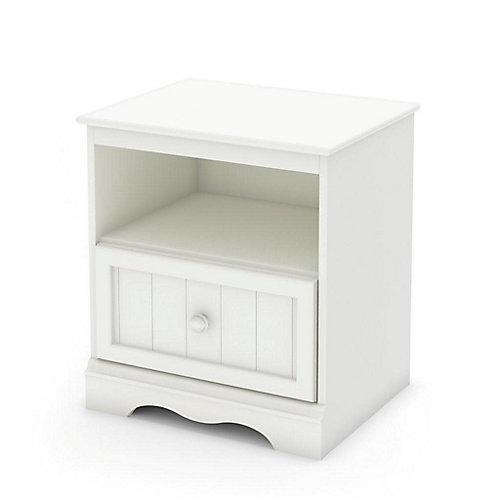 Savannah 1-Drawer Nightstand, Pure White