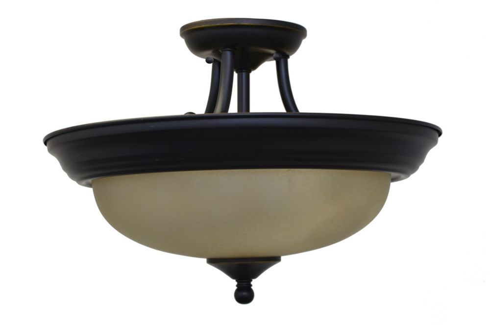 16 Inches Semi-Flush Mount, Weathered Bronze Finish