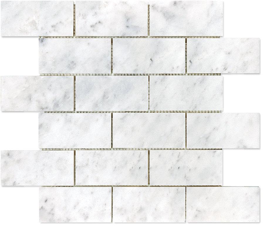 2-inch x 4-inch Bianco Polished Brick Mosaic Tile