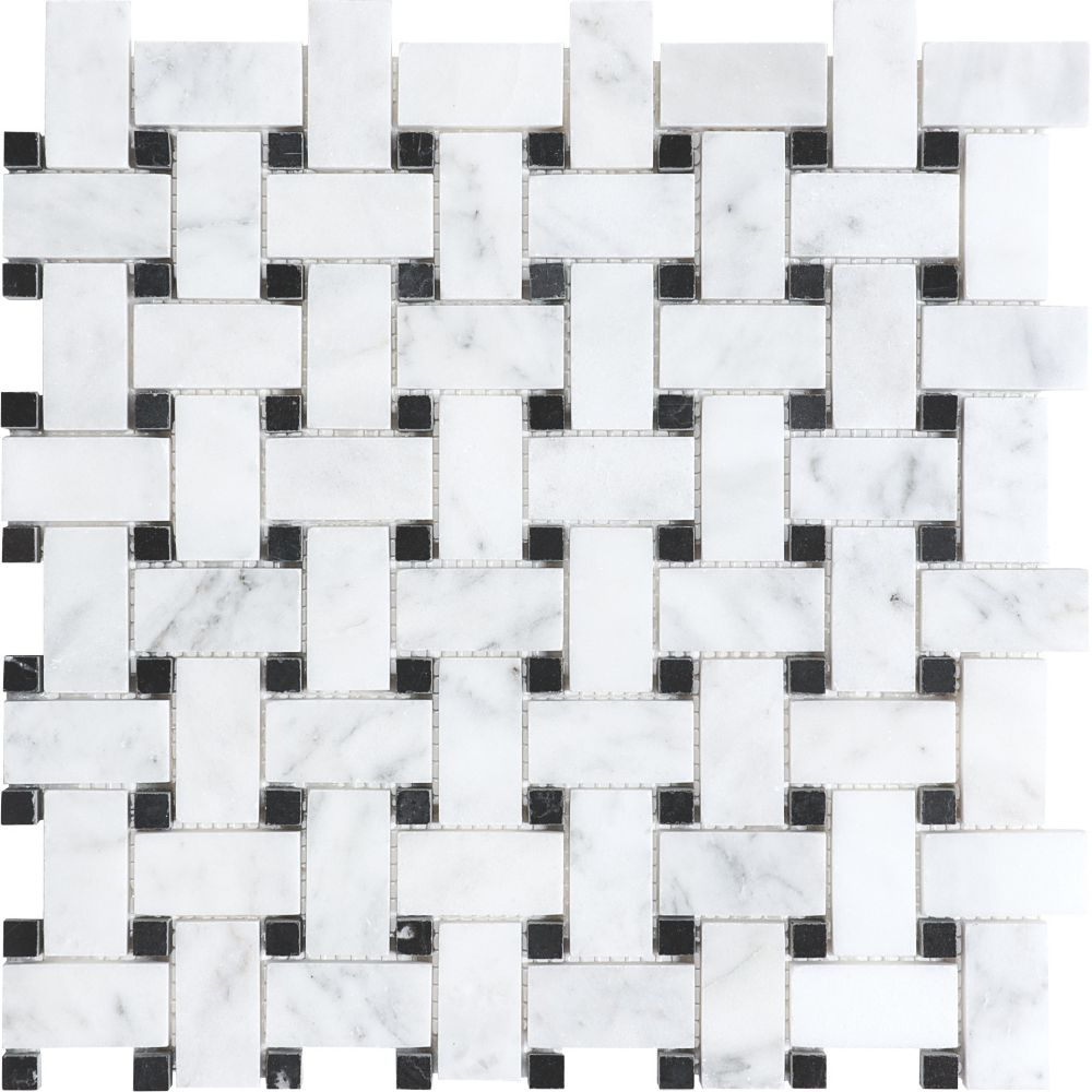 Bianco Polished Basketweave Mosaic Tile