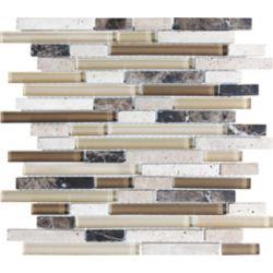 Sassi Glass Blend Linear Strips in Portabella