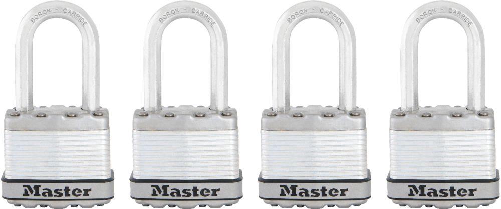 "Master Lock Magnum Cadenas lamine 1-3/4"" with 1-1/2"" shackle  4Pk"