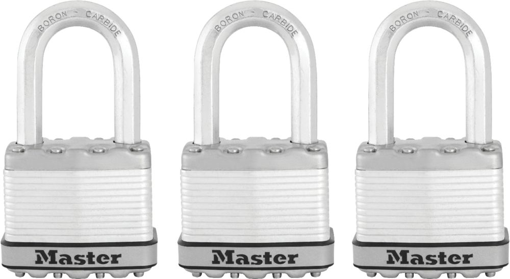 Magnum Laminated Padlock 2 In. With 1-1/2 In. Shackle - 3 Pack