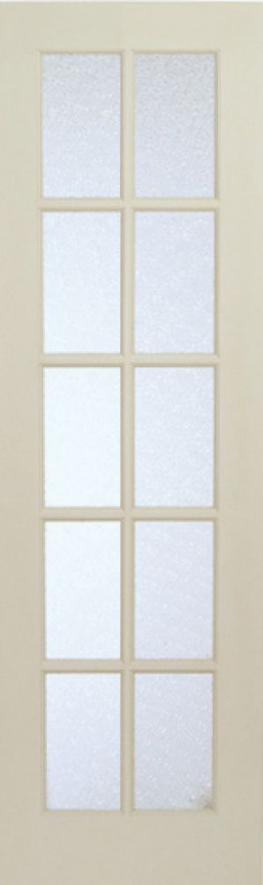 Milette 24-inch x 80-inch Primed 10 Lite Interior French Door with Martele Privacy Glass