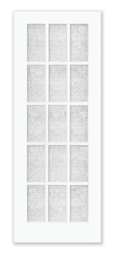 32-inch x 80-inch Primed 15 Lite Interior French Door with Martele Privacy Glass