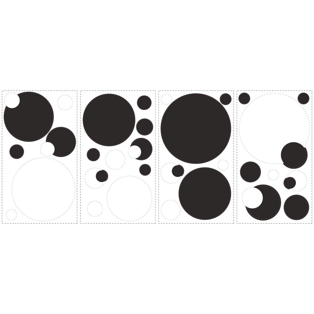 Roommates Black And White Chalkboard Dots Peel Stick