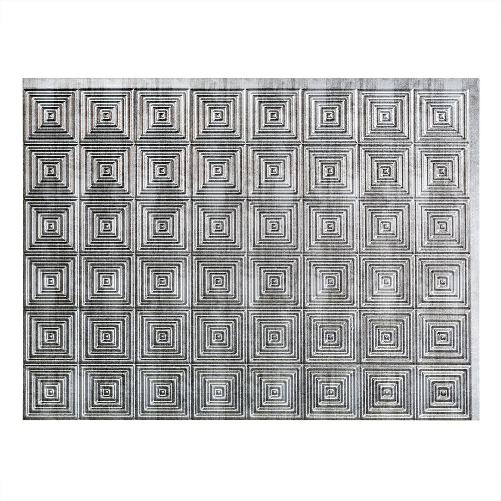 Mini Quattro Crosshatch Silver Backsplash