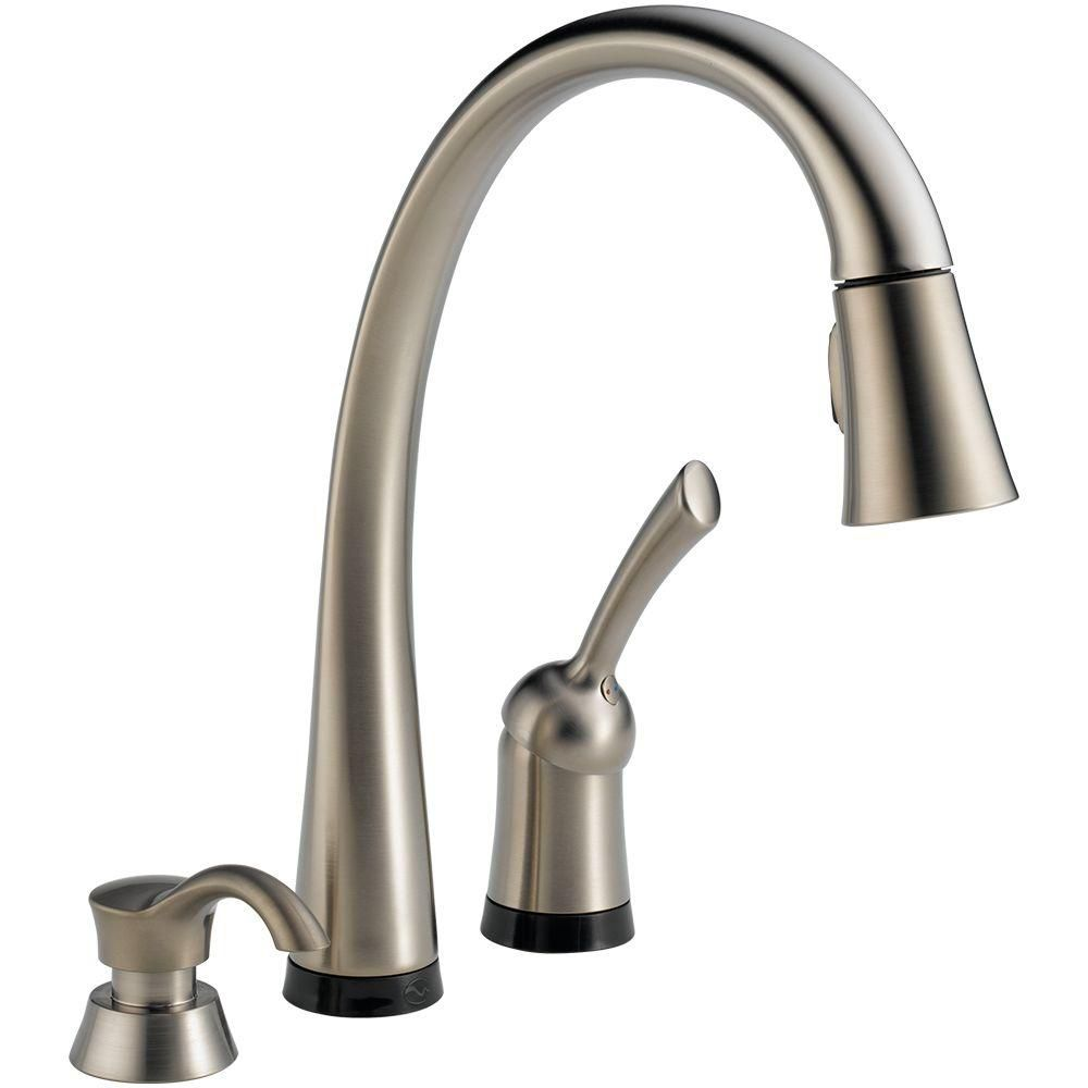 Delta Pilar Pull-Down Kitchen Faucet With Soap Dispenser - Stainless Steel 980T-SSSD-DST Canada Discount