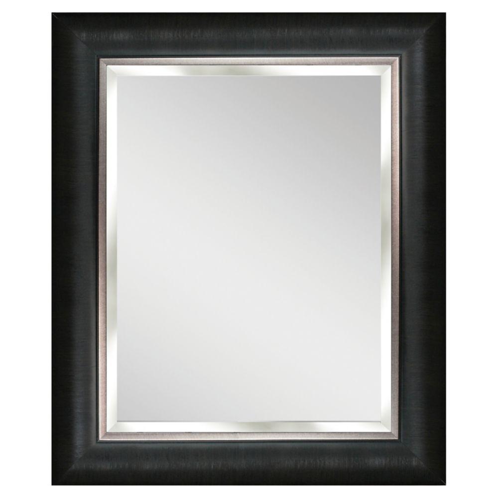 62,23 cm x 77,47cm Miroir Aldetron à cadre argenté et noir