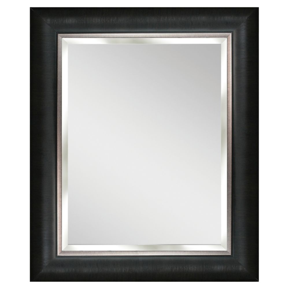 24.5 in. x 30.5 in. Alderton Mirror, Silver/Black