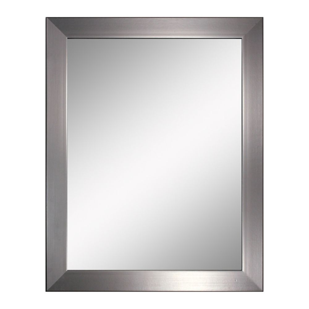 22 in. x 28 in. Modern Brush Nickel Mirror