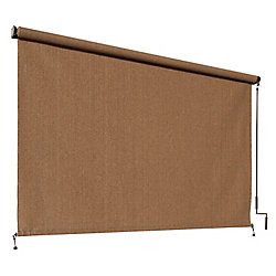 Coolaroo Outdoor Crank Roller Shade with 95% UV Protection0 (8 ft. x 8 ft.) Walnut