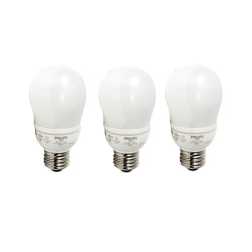 Philips CFL 9W = 40W A-Line (A19) Soft White (2700K) - (3-Pack)