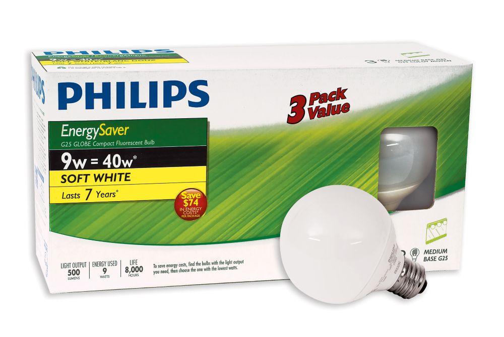 CFL 9W = 40W Globe(G25) Soft White (2700K) - 3 Pack