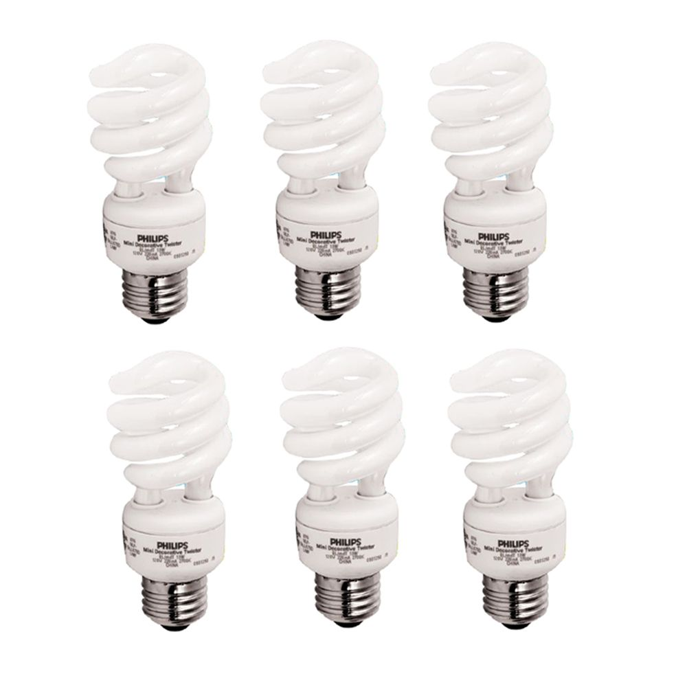 CFL 13W = 60W Mini Twister Soft White (2700K) - 6 Pack