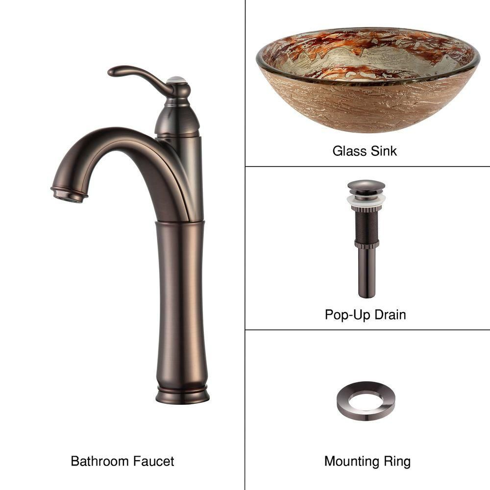 Ares Glass Vessel Sink with Riviera Faucet in Oil Rubbed Bronze
