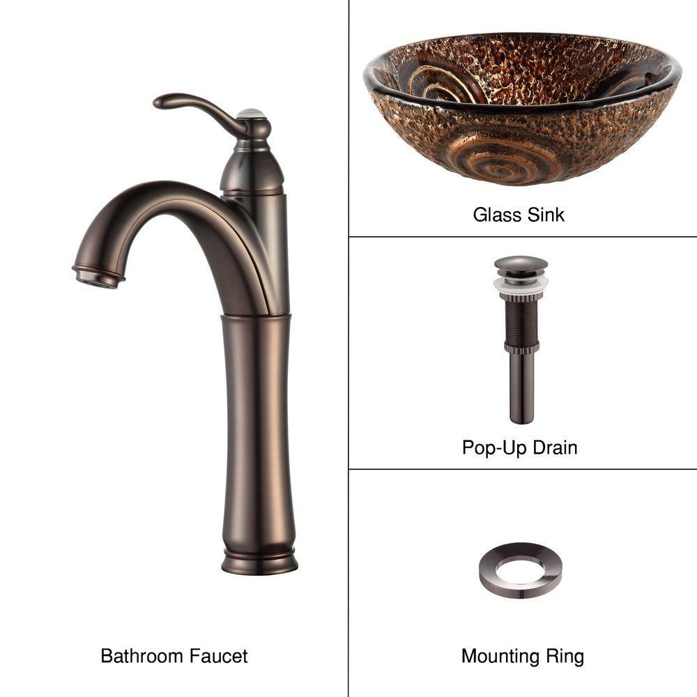 Luna Glass Vessel Sink with Riviera Faucet in Oil-Rubbed Bronze