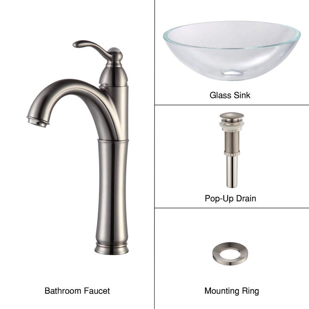 Glass Vessel Sink in Crystal Clear with Riviera Faucet in Satin Nickel