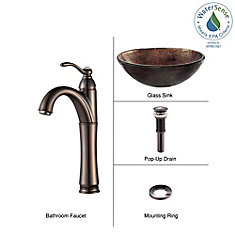 Glass Vessel Sink in Copper Illusion with Riviera Faucet in Oil-Rubbed Bronze