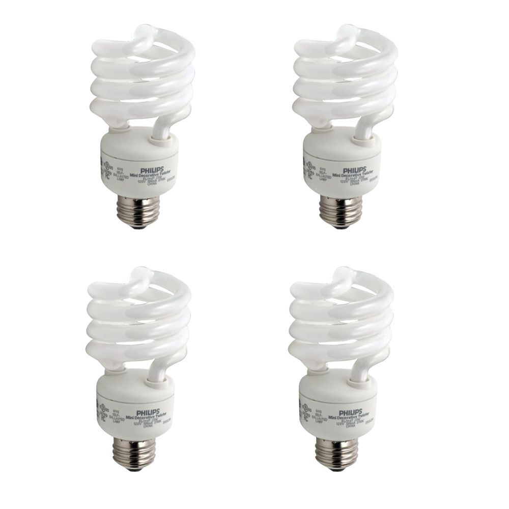 CFL 23W = 100W  Mini Twister Bright White (5000K) - 4 Pack