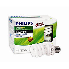 CFL 13W = 60W Mini Twister Bright White (5000K) - 6 Pack