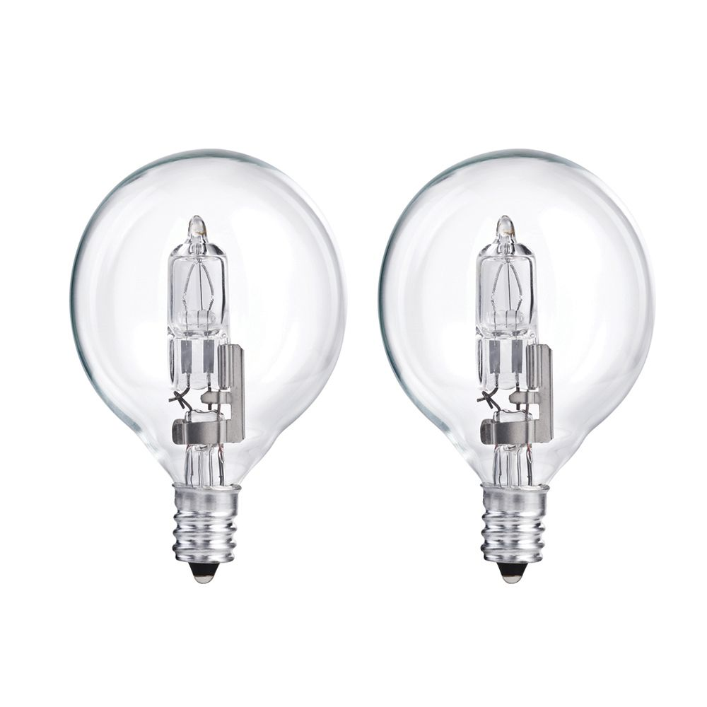 Halogen 40W Globe (G16.5) Clear 2 Pack