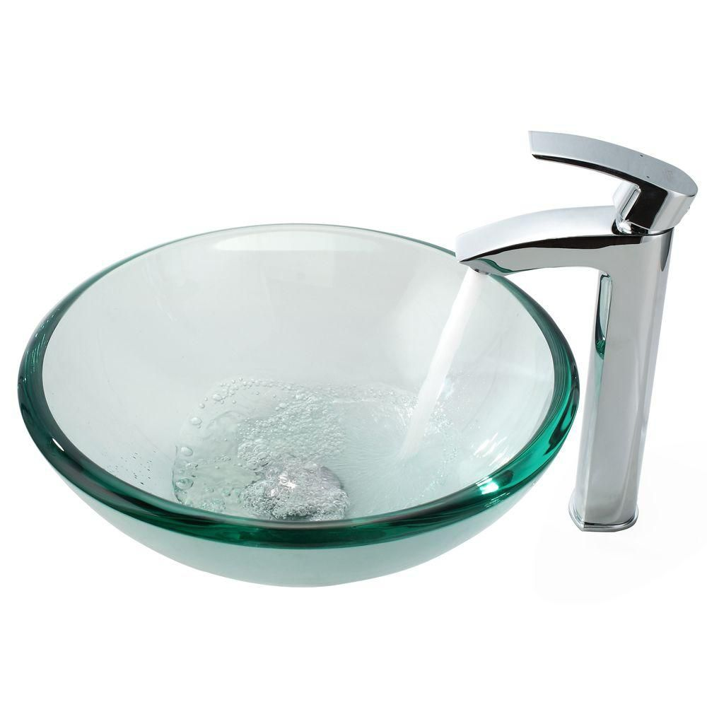 Clear 19mm thick Glass Vessel Sink and Visio Faucet Chrome C-GV-101-19MM-1810CH Canada Discount
