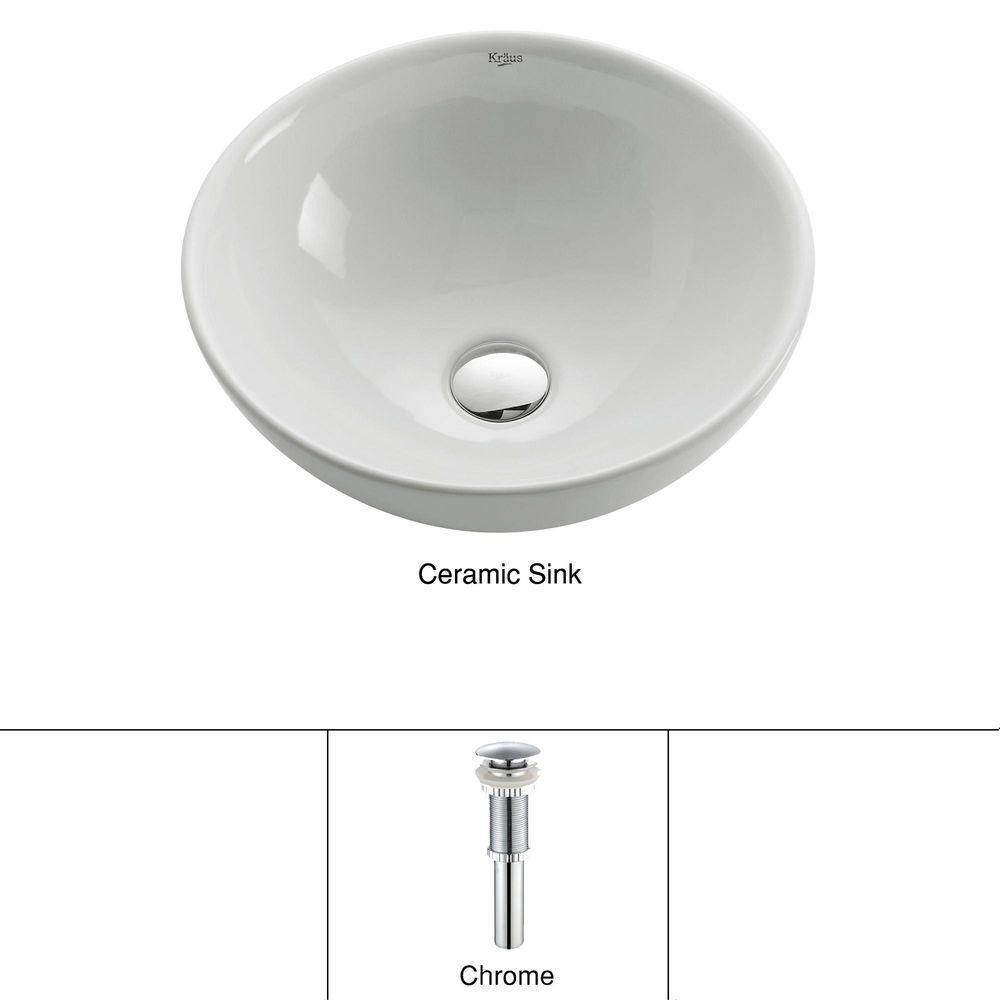 Round Ceramic Sink in White with Pop-Up Drain in Chrome