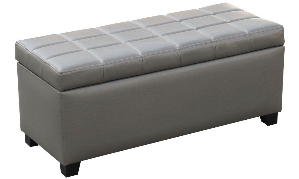 Abby Storage Ottoman - Grey