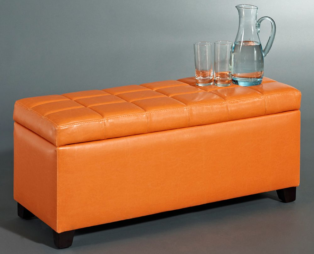 Abby Storage Ottoman - Orange