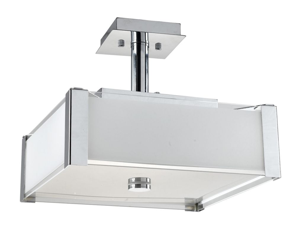 14-1/4  Inches Semi-Flush Mount, Chrome Finish