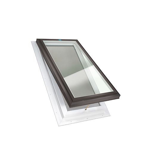 Columbia Skylights 2ft x 4ft Fixed Self Flashing LoE3 Double Glazed Clear Glass Skylight with Brown Frame
