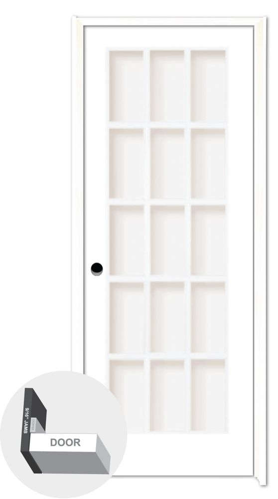 Milette 30-inch x 80-inch Primed 15 Lite Prehung French Door with Clear Glass
