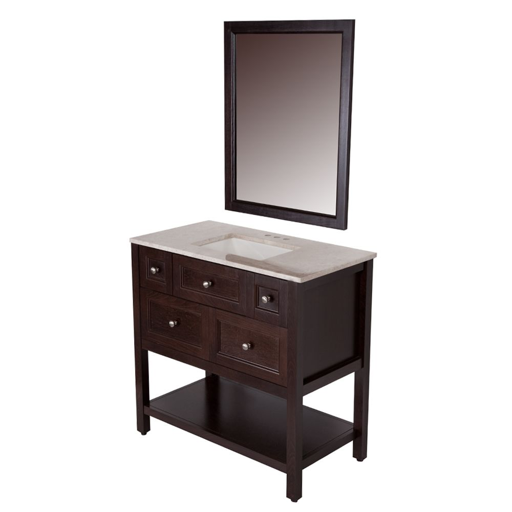 ashland 36 inch w vanity in chocolate finish with top in travertine