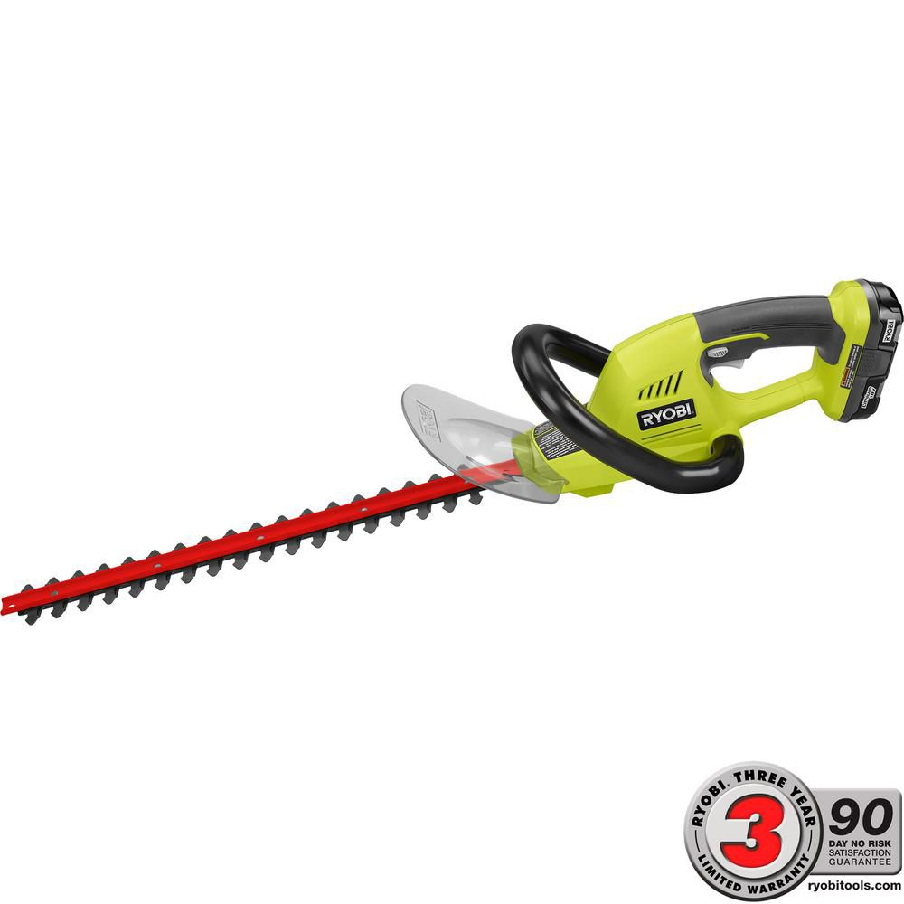 RYOBI 18V ONE+ 18-Inch Lithium-Ion Cordless Hedge Trimmer with 1.3 Ah Battery and Charger