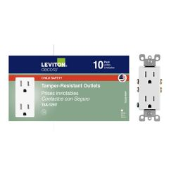 Leviton Decora Tamper Resistant Electrical Outlet Receptacle in White (10-Pack)
