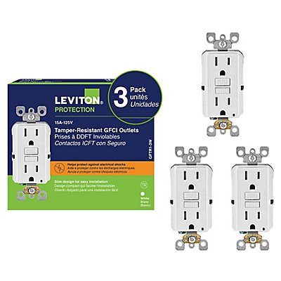 Decora 15 amp tamper resistant slim gfci receptacleoutlet with 15 amp tamper resistant slim gfci receptacleoutlet with wallplate 3 pack sciox Choice Image